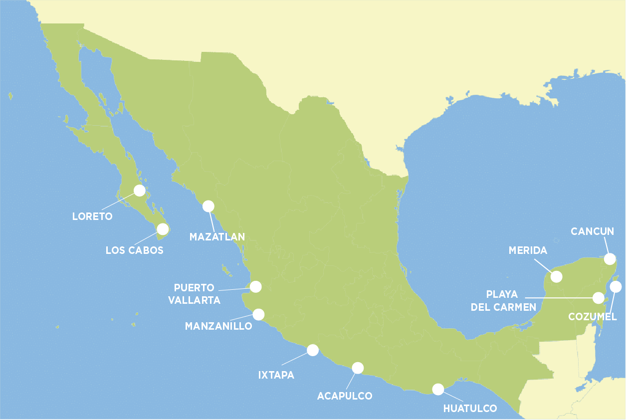 Map of the most popular beaches in Mexico