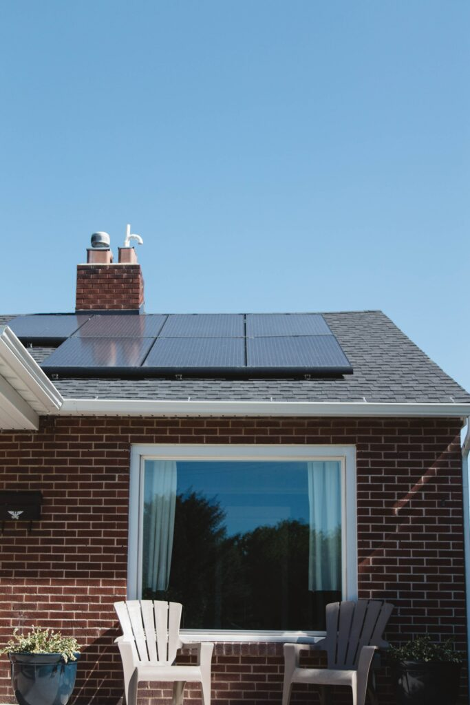 Solar energy panels in a house